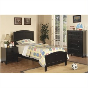 Poundex 3 Piece Kids Twin Size Bedroom Set in Rich Black Finish