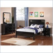 Poundex 4-Piece Full Bedroom Set in Black