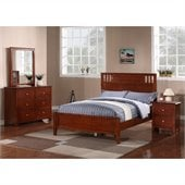 Poundex 4-Piece Twin Bedroom Set in Medium Oak