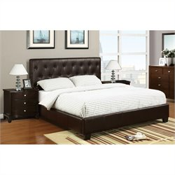 Poundex 3 Piece Faux Leather Queen Size Bedroom Set in Dark Brown