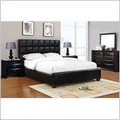 Poundex 5 Piece Faux Leather Queen Size Bedroom Set in Black