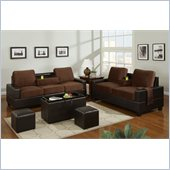 Poundex 5-Piece Living Room Set in Chocolate Finish