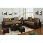 Poundex 5-Piece Living Room Set in Saddle Finish