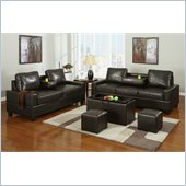 Poundex 5-Piece Faux Leather Sofa Set in Chocolate