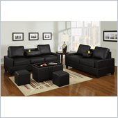 Poundex 5-Piece Faux Leather Sofa Set in Black