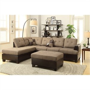 Poundex Bobkona Winden 3 Piece Reversible Sectional Sofa in Tan