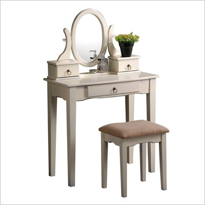Poundex Bobkona Abana Vanity Set with Stool in Antique White