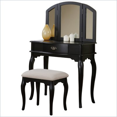Poundex Bobkona Jaden Vanity Set with Stool in Black