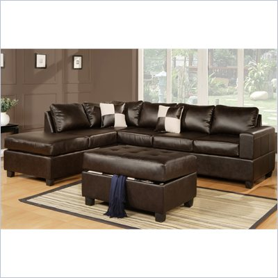 Poundex Bobkona Soft-Touch Bonded Leather 3-Piece Sectional in Espresso