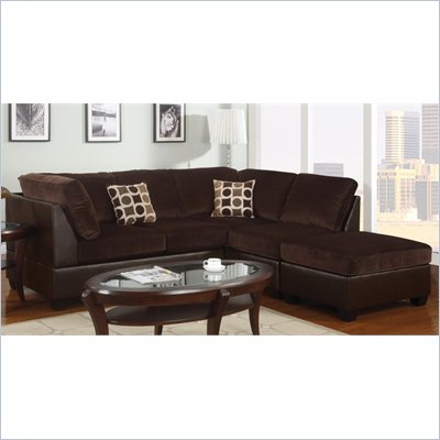 Poundex Bobkona U-Design Microfiber 3-Piece Sectional in Bungalow Chocolate