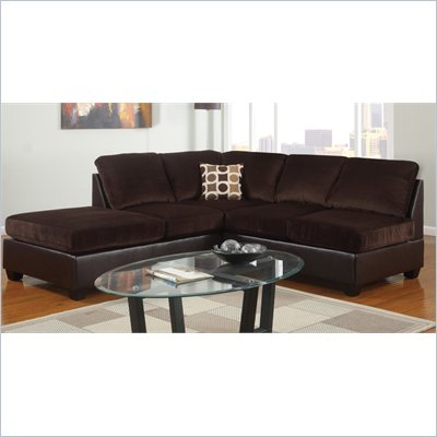 Poundex Bobkona U-Design Microfiber 2-Piece Sectional in Comely Chocolate