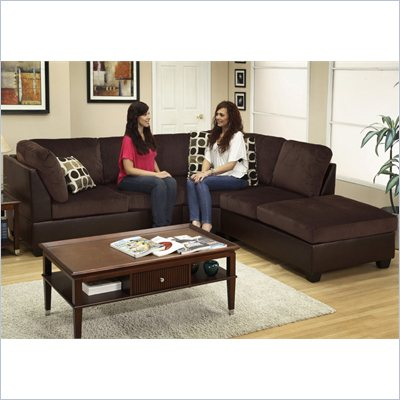 Poundex Bobkona U-Design Microfiber 3-Piece Sectional in Demesne Chocolate