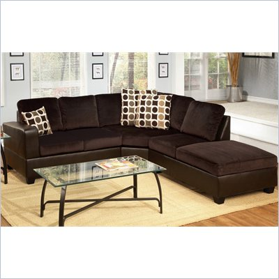 Poundex Bobkona U-Design Microfiber 3-Piece Sectional in Felicity Chocolate