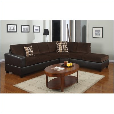 Poundex Bobkona U-Design Microfiber 3-Piece Sectional in Mellifluous Chocolate