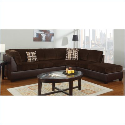 Poundex Bobkona U-Design Microfiber 3-Piece Sectional in Pastiche Chocolate