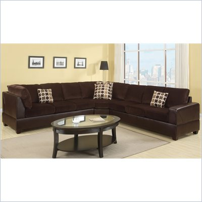 Poundex Bobkona U-Design Microfiber 3-Piece Sectional in Serendipity Chocolate