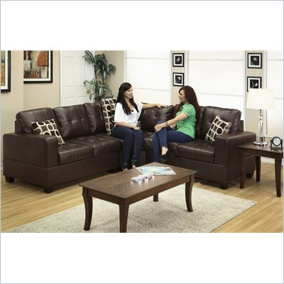 Poundex Bobkona U-Design Bonded Leather 3-Piece Sectional in Glamour Espresso