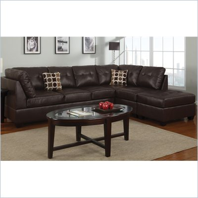 Poundex Bobkona U-Design Bonded Leather 3-Piece Sectional in Ingenue Espresso