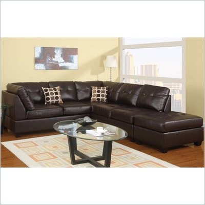 Poundex Bobkona U-Design Bonded Leather 3-Piece Sectional in Leisure Espresso