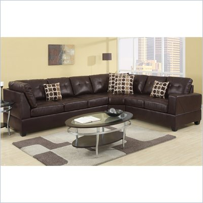 Poundex Bobkona U-Design Bonded Leather 3-Piece Sectional in Prolific Espresso
