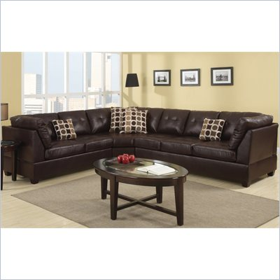 Poundex Bobkona U-Design Bonded Leather 3-Piece Sectional in Scintilla Espresso