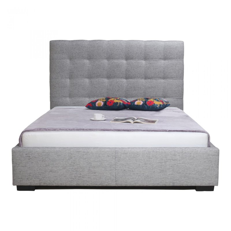 Moe's Belle Queen Upholstered Storage Bed in Light Gray