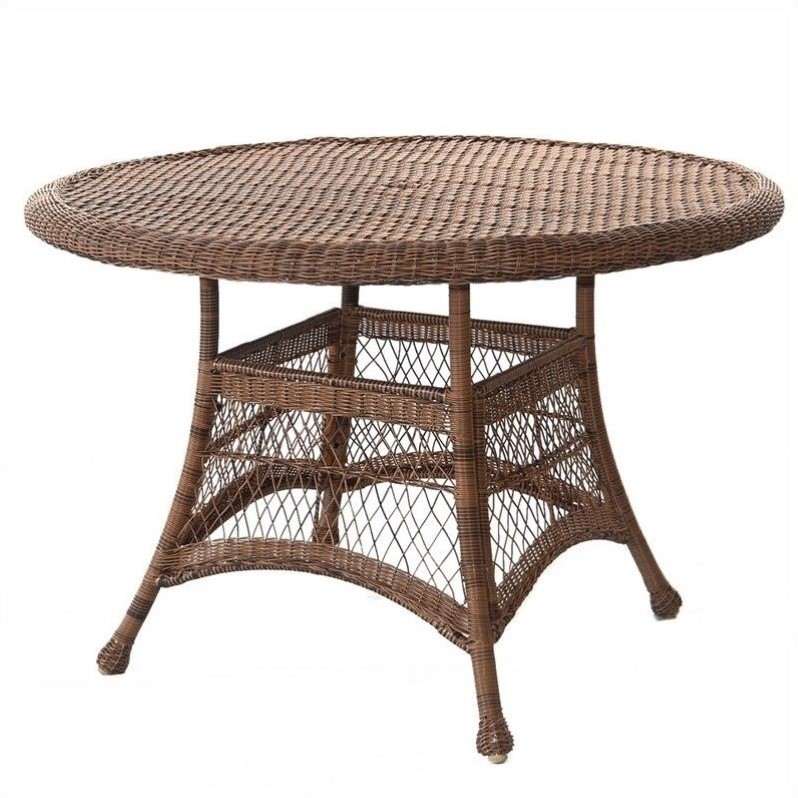 Jeco Wicker 44 Round Dining Table in Honey
