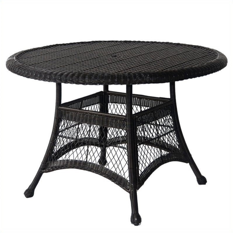 Jeco Wicker 44 Round Dining Table in Black