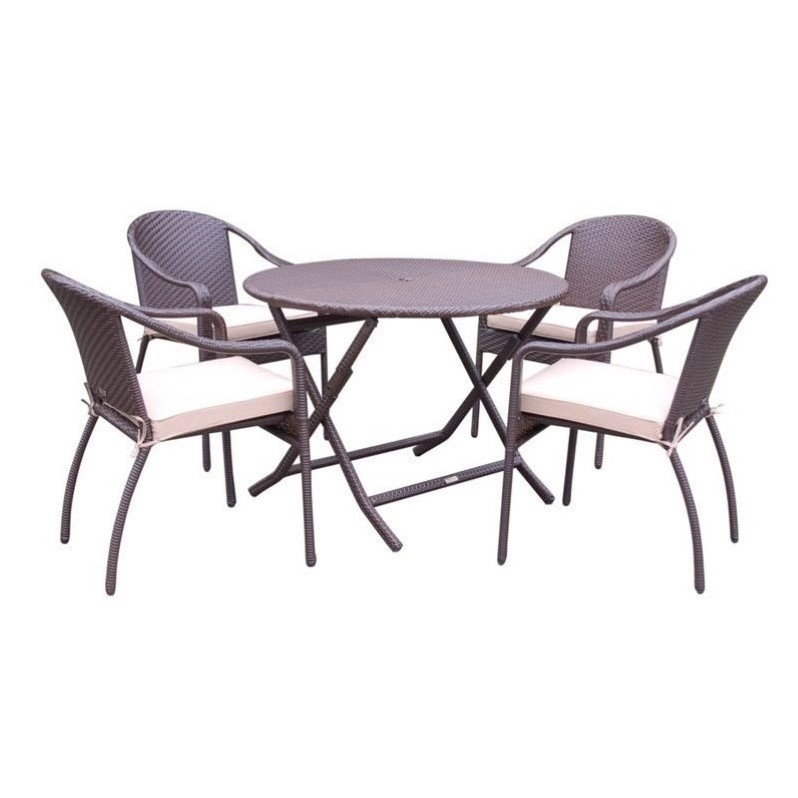 Jeco 5 Piece Wicker Table Dining Set in Tan