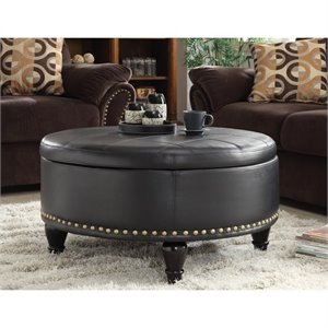 INSPIRED by Bassett Augusta Storage Leather Ottoman in Black