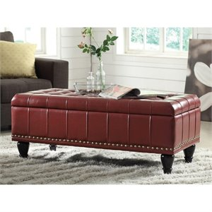 INSPIRED by Bassett Caldwell Storage Leather Ottoman in Crimson Red