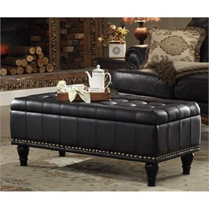 INSPIRED by Bassett Caldwell Storage Leather Ottoman in Black