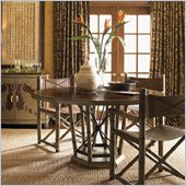 Henry Link Safari Dining Table in Rosewood and Linen Crackle