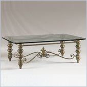 Henry Link Palazzo Silver Cocktail Table with Glass Top