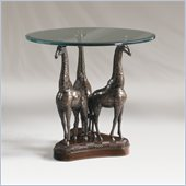 Henry Link Heads Above Giraffe Glass Top  Accent Table in Aged Bronze