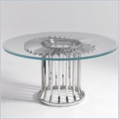 Aquarius Impulse Round Glass Dining Table in Polished Stainless Steel