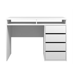 Tvilum Station 4 Drawer and 2 Shelf Computer Desk in White High Gloss