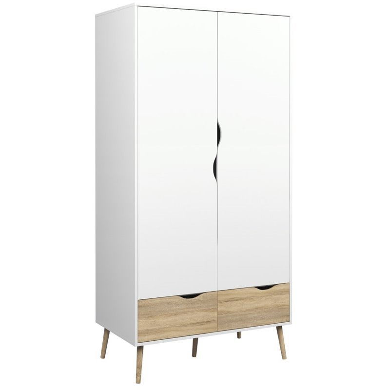 Tvilum Diana 2 Drawer and 2 Door Wardrobe in White and Oak