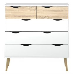 Tvilum Diana 5 Drawer Chest in White and Oak