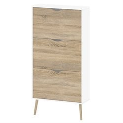 Tvilum Diana 3 Drawer Shoe Cabinet in White and Oak