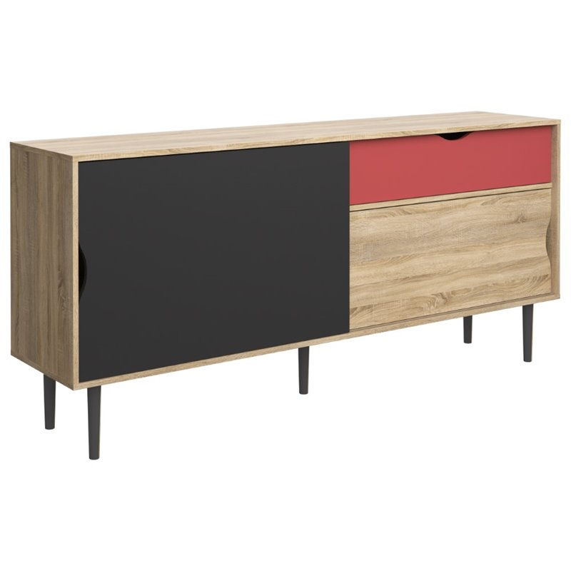 Tvilum Unti and 2 Door Sideboard in Oak and Dark Gray and Teracotta