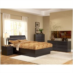 Tvilum Scottsdale Platform 4 Piece Bedroom Set in Coffee