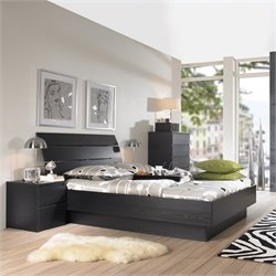 Tvilum Scottsdale Platform 3 Piece Bedroom Set in Black Woodgrain
