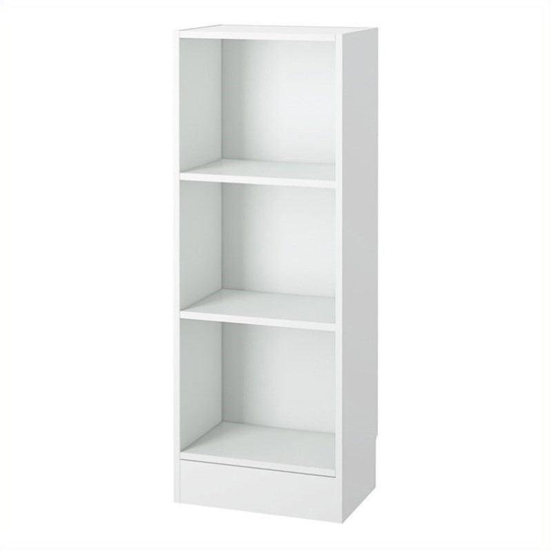 Tvilum Element Short Narrow 3 Shelf Bookcase in White [501226]