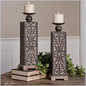 Uttermost Abelardo Wood with Wrought Iron Metal Candleholders