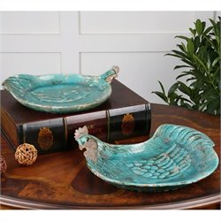 Uttermost Galiana Ceramic Trays Distressed Crackled Teal Blue Ceramic