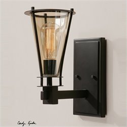 Uttermost Frisco 1 Light Rustic Black Metal Wall Sconce