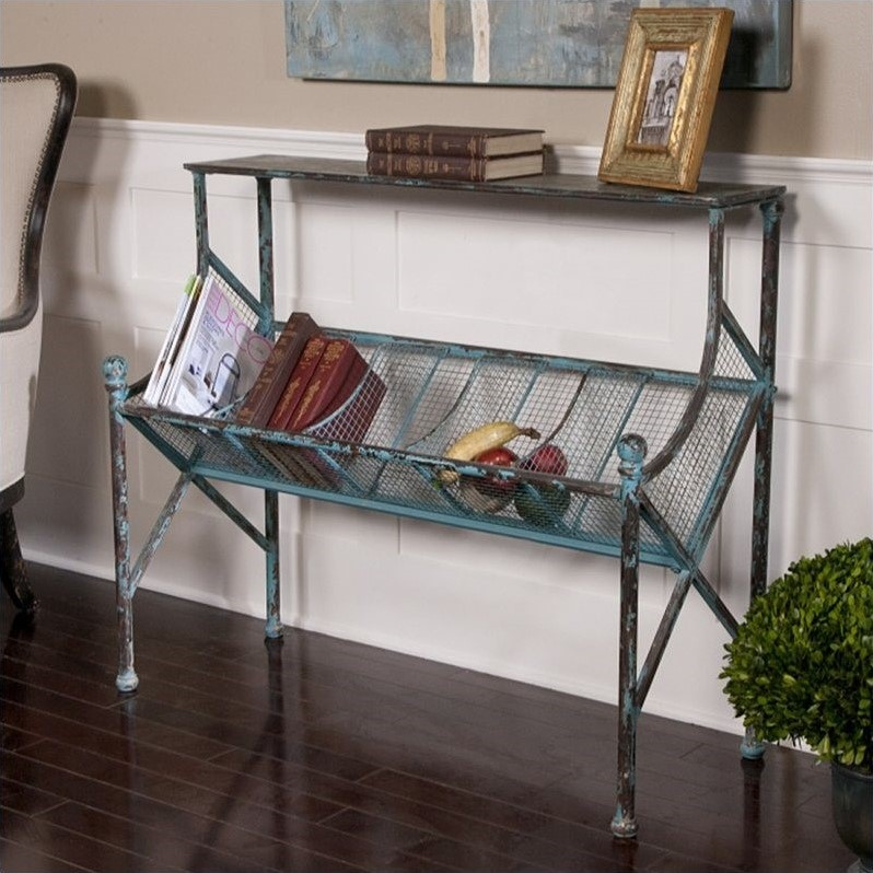 Generosa Iron Bookshelf Table in Turquoise and Black