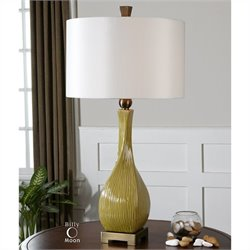Uttermost Valsinni Ceramic Table Lamp in Chartreuse Yellow Ceramic