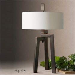 Uttermost Mondovi Modern Table Lamp in Antiqued Bronze with Gold